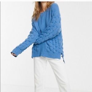 Moon River Blue Bubble Puff Knit Sweater Sz Small